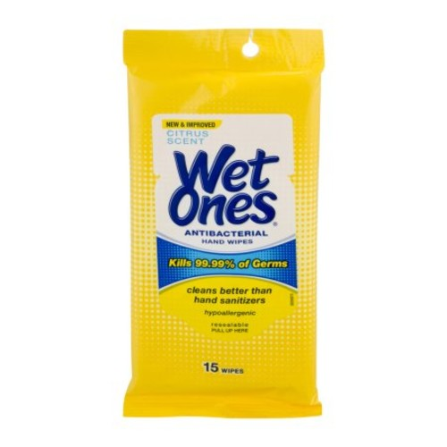 Wet Ones Citrus Antibacterial Hand Wipes Travel Pack, 15-Count [1]