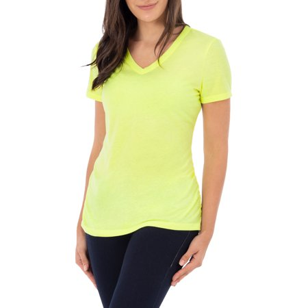 Women's Short Sleeve V-Neck Ruched Tee Shirt Introducing Wrights, a smart and functional fashion line that takes shape in the form of ultra-wearable womens clothing. Its proof positive that you can exude effortless style at an excellent value. When comfort, quality, and ease of care are of the utmost concern,