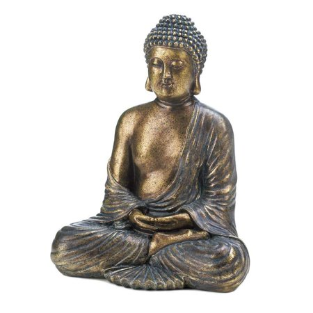 Home Decor Sitting Buddha Statue, Polyresin and Felt Bottom By Accent Plus (Sitting Buddha)