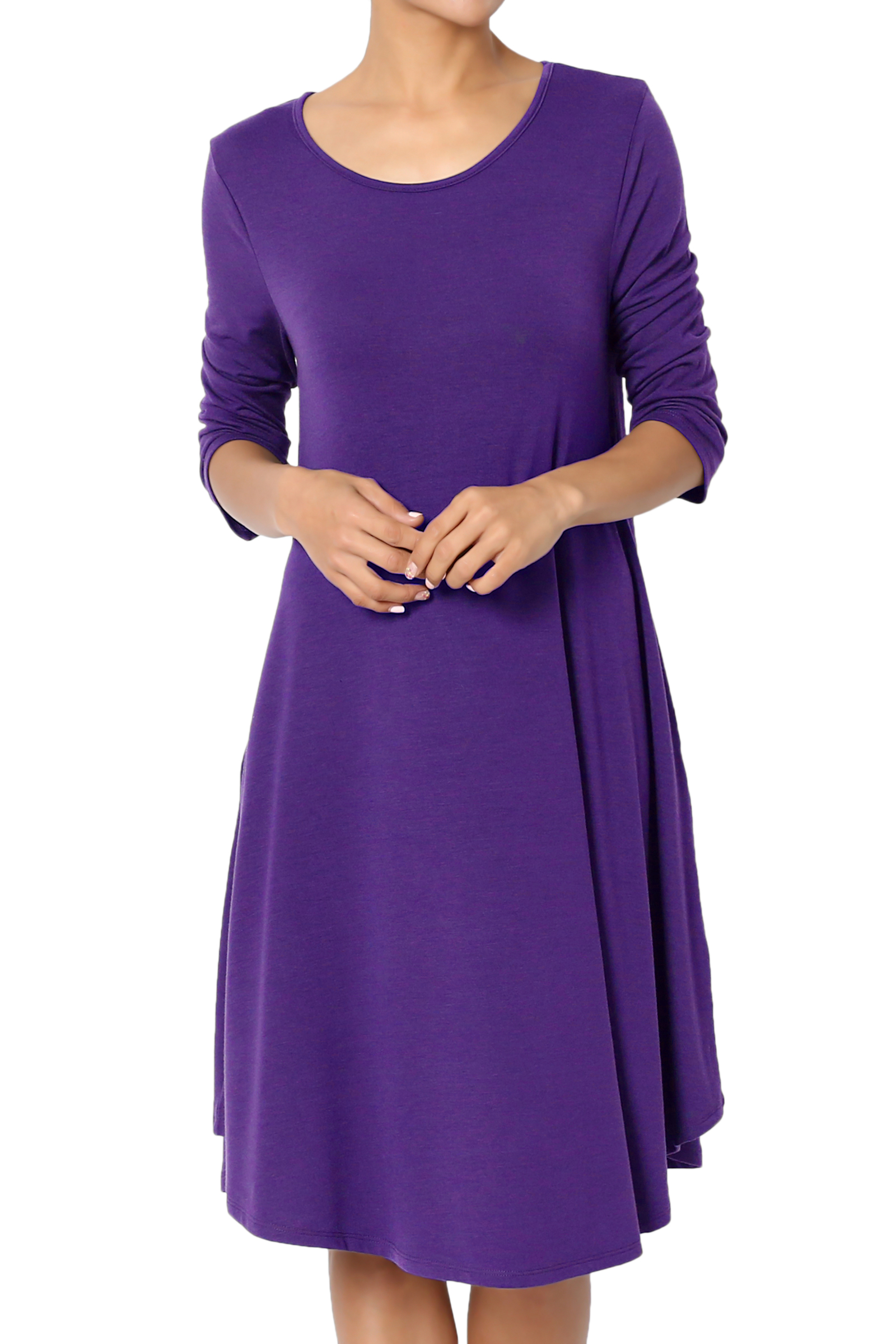 TheMogan Women's PLUS 3/4 Sleeve A-Line Flared Jersey Knit Pocket T-Shirt Dress