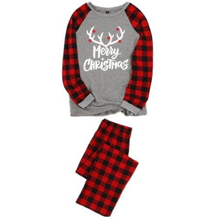 Christmas Children Adult Family Matching Family Pajamas Sets Sleepwear Outfit Dad Mum Kids Printing Xmas Gifts Family PJs Matching Set Plaid Pants+Top 2pcs Letter Print Long John Pjs