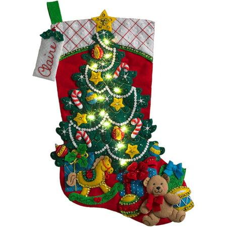 18 Inch Felt Stocking Kit - 18-Inch Christmas Stocking Felt Appliqué Kit, 86710 Christmas Tree Surprise, 18 Bucilla felt stocking kit Christmas Tree Surprise By Bucilla