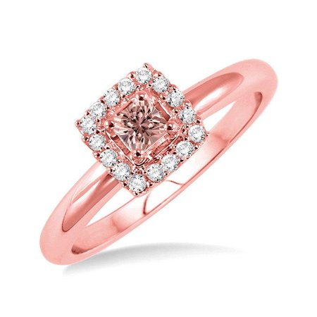1 Carat Princess cut Morganite and Diamond Halo Engagement Ring for Women in 14k Rose Gold morganite & diamond engagement ring