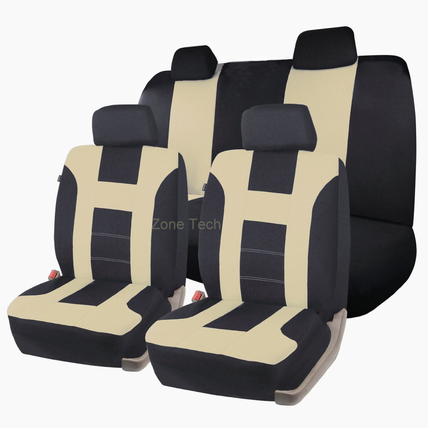 Zone Tech Universal Full Set of Car Seat Covers Racing Style- Beige/ Black