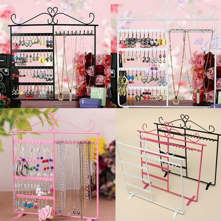 - White/Pink/Black Earrings Necklace Ear Studs Jewelry Tree Display Show Metal Stand Rack Organizer Holder