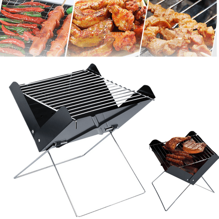 07e32616db8 Mini Portable Folding Barbecue Grill Stainless Steel Charcoal BBQ Stove  Oven Outdoor Cooker Garden Camping Tool 11.5 10.7 12inch - Walmart.com