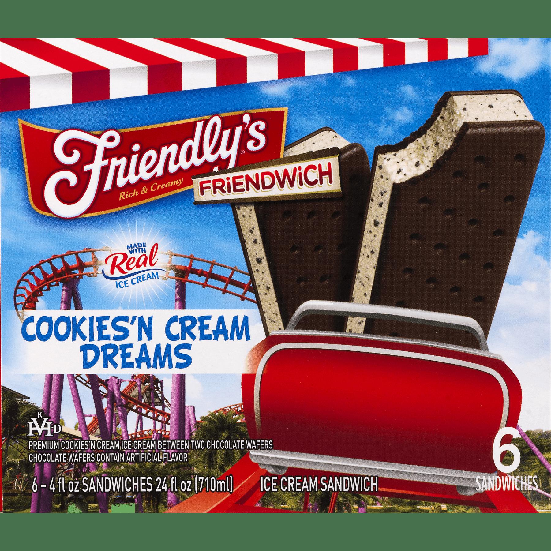 Friendly s Friendwich Cookies n Cream Dreams Ice Cream Sandwich 6