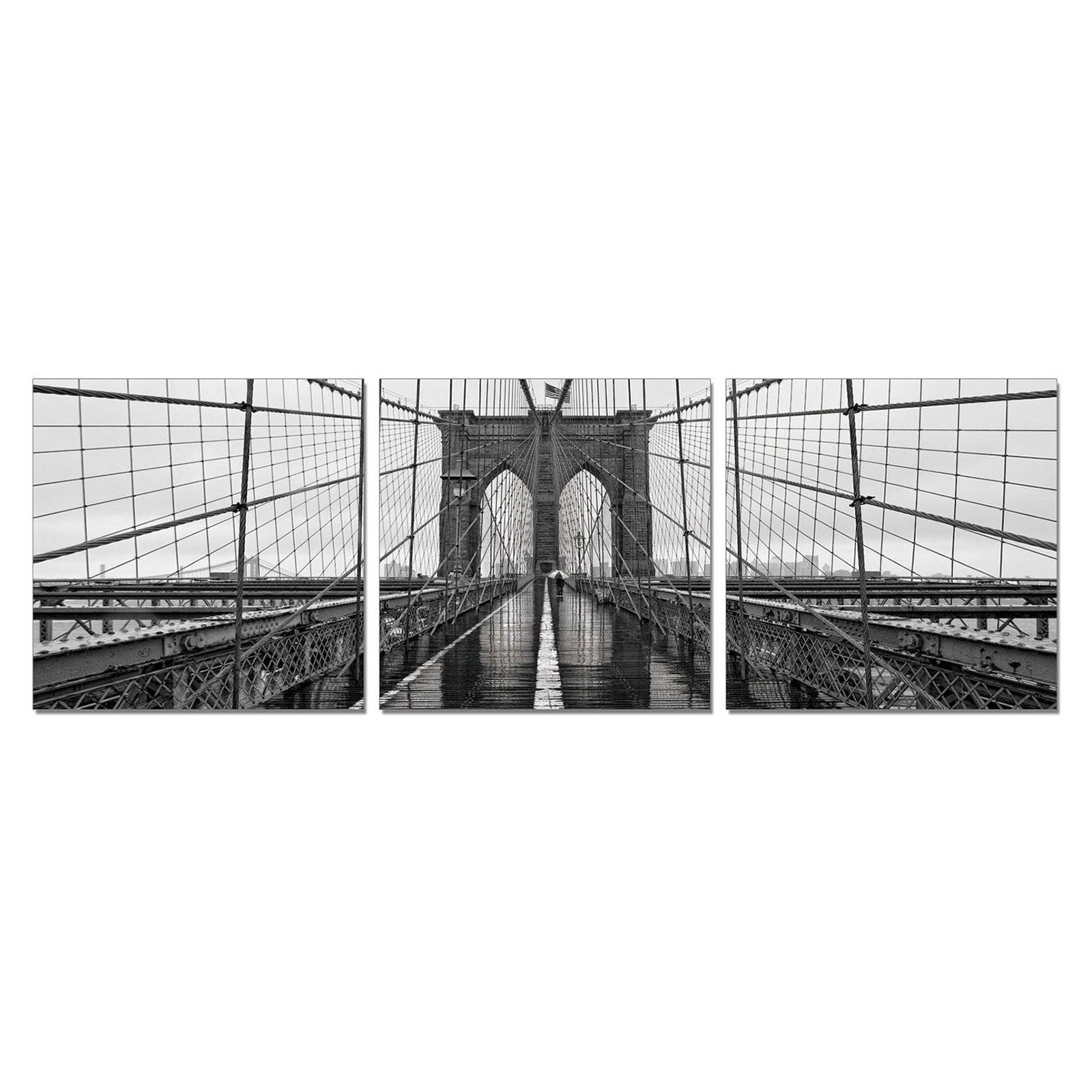 Furinno SeniA Brooklyn Bridge 3-Panel MDF Framed Photography Triptych Print, 48 x 16-in