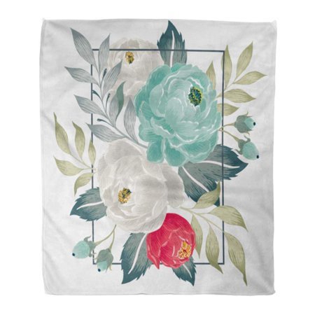 KDAGR 58x80 inch Super Soft Throw Blanket Beautiful Floral Bouquet with in Spring for Wedding Anniversary Birthday Home Decorative Flannel Velvet Plush Blanket