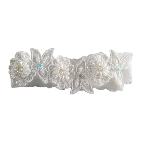 Hand Beaded Ivory and Blue Lace Garter ()