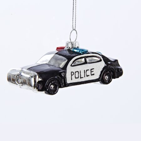 pack of 6 black and white glass police car christmas ornaments 4