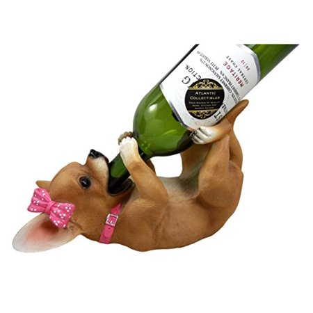 Atlantic Collectibles Female Pink Ribbon Tea Cup Chihuahua Wine Bottle Holder Caddy Figurine 10 25 Long