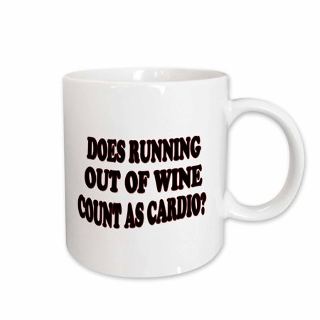 3dRose Does running out of wine count as cardio - Ceramic Mug, 11-ounce (Gross Out Wine)