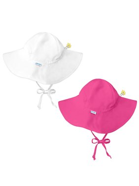 i play Baby and Toddler Brim Sun Protection Hat- White and Hot Pink - 2 Pack