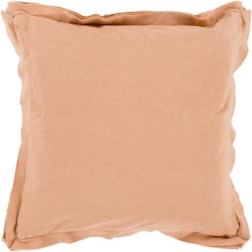 "18"" Blush Pink Flanged Trim Decorative Throw Pillow - Down Filler"