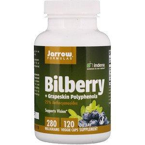 Jarrow Formulas, Bilberry + Grapeskin Polyphenols, 280 mg, 120 Veggie Caps (Pack of 2)