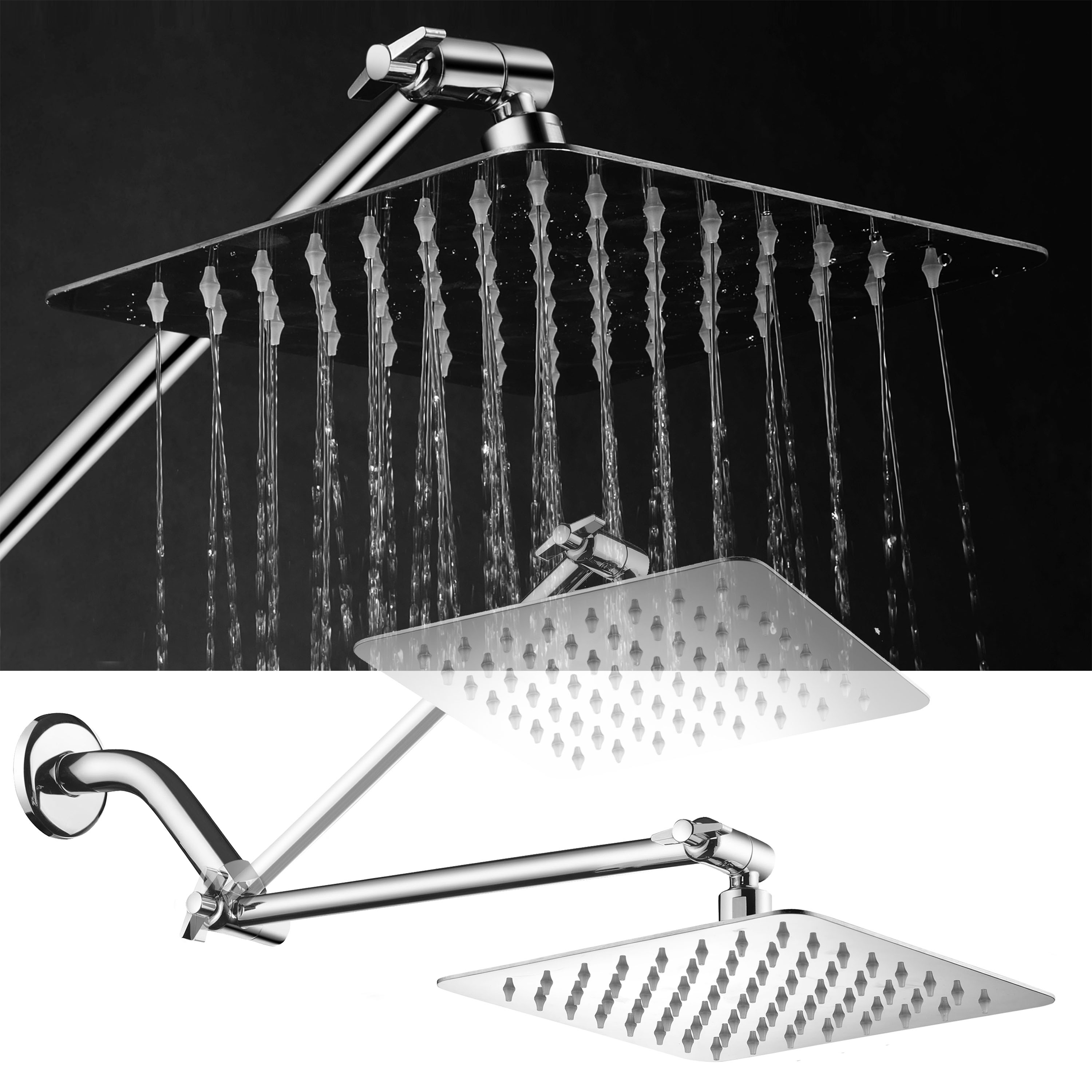 HotelSpa® Mega-Size 8-inch Stainless Steel Square Rainfall Shower Head with Solid Brass 12-inch Extension Arm