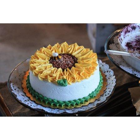 canvas print sunflower tasty delicious dessert cake sweet stretched canvas 10 x - Sunflower Dessert