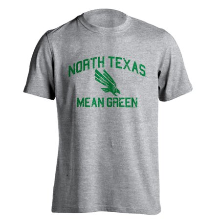 North Texas UNT Mean Green Distressed Retro Eagle Logo Athletic Heather Short Sleeve -