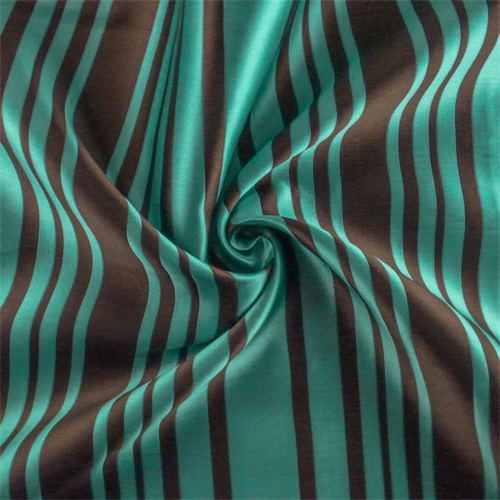 Turquoise/Brown Stripe Drapery Fabric, Fabric By the Yard