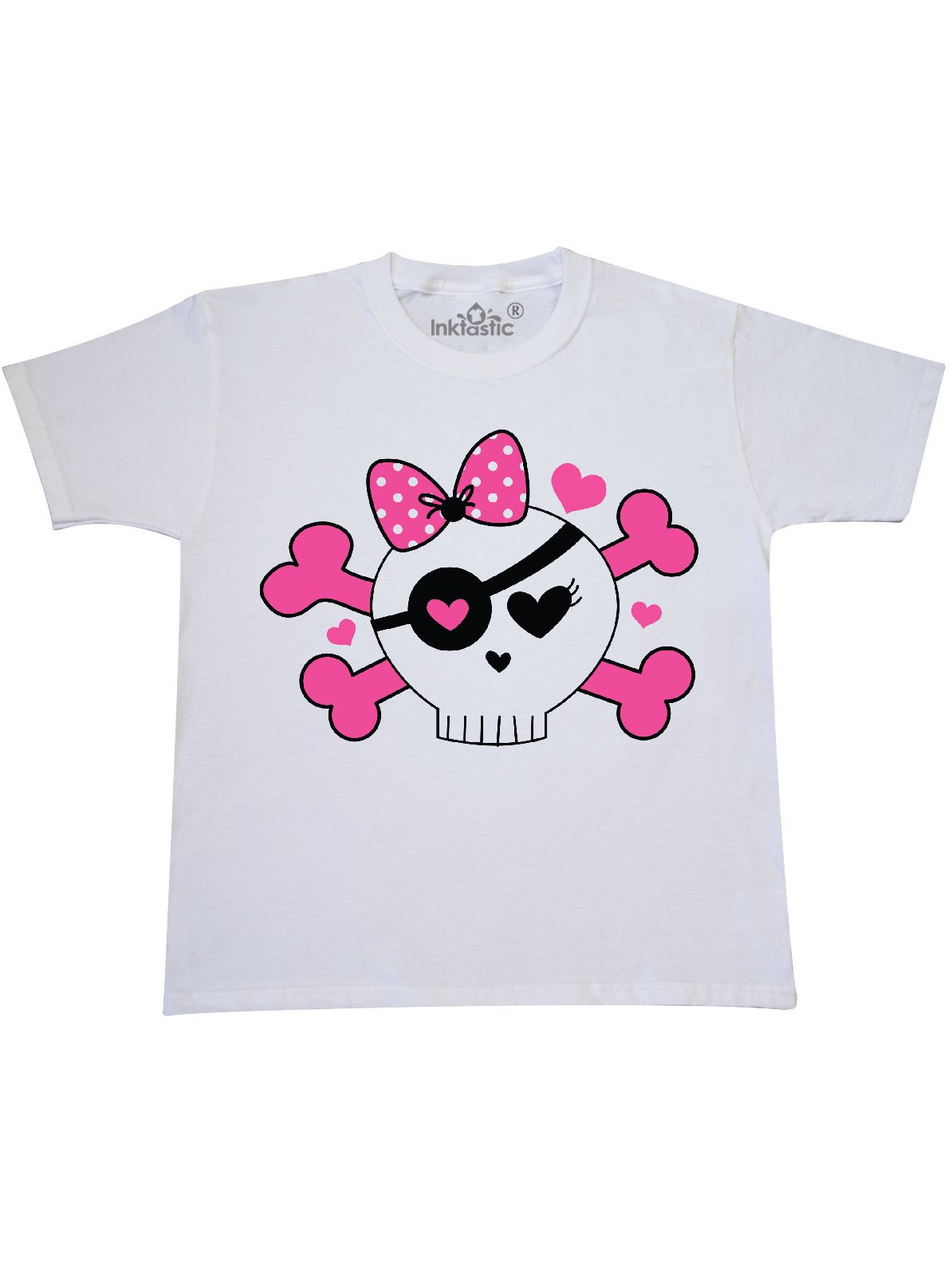 Girl Pirate Skull Valentine Youth T-Shirt