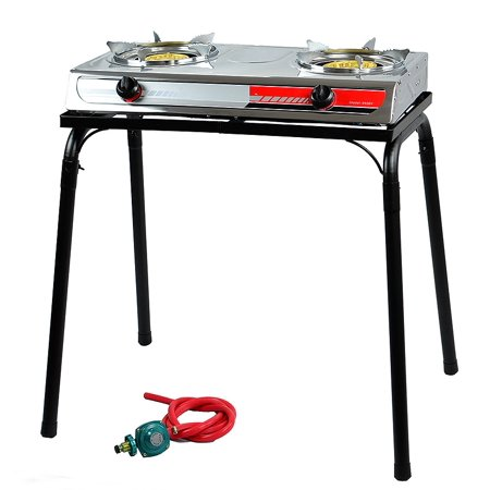 Double Burner Stove LPG BBQ Camping, with Stand Double Burner Camping Stoves