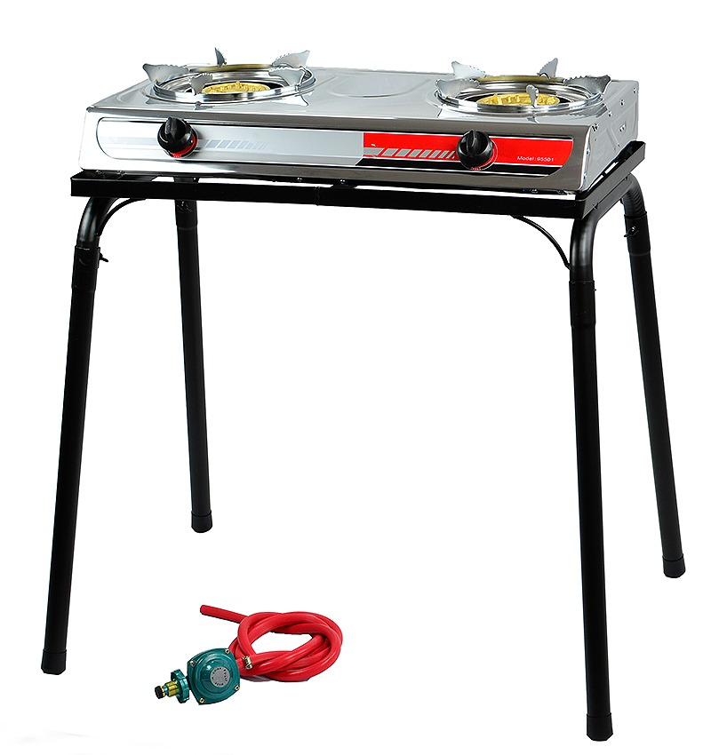 Double Burner Stove LPG BBQ Camping, with Stand