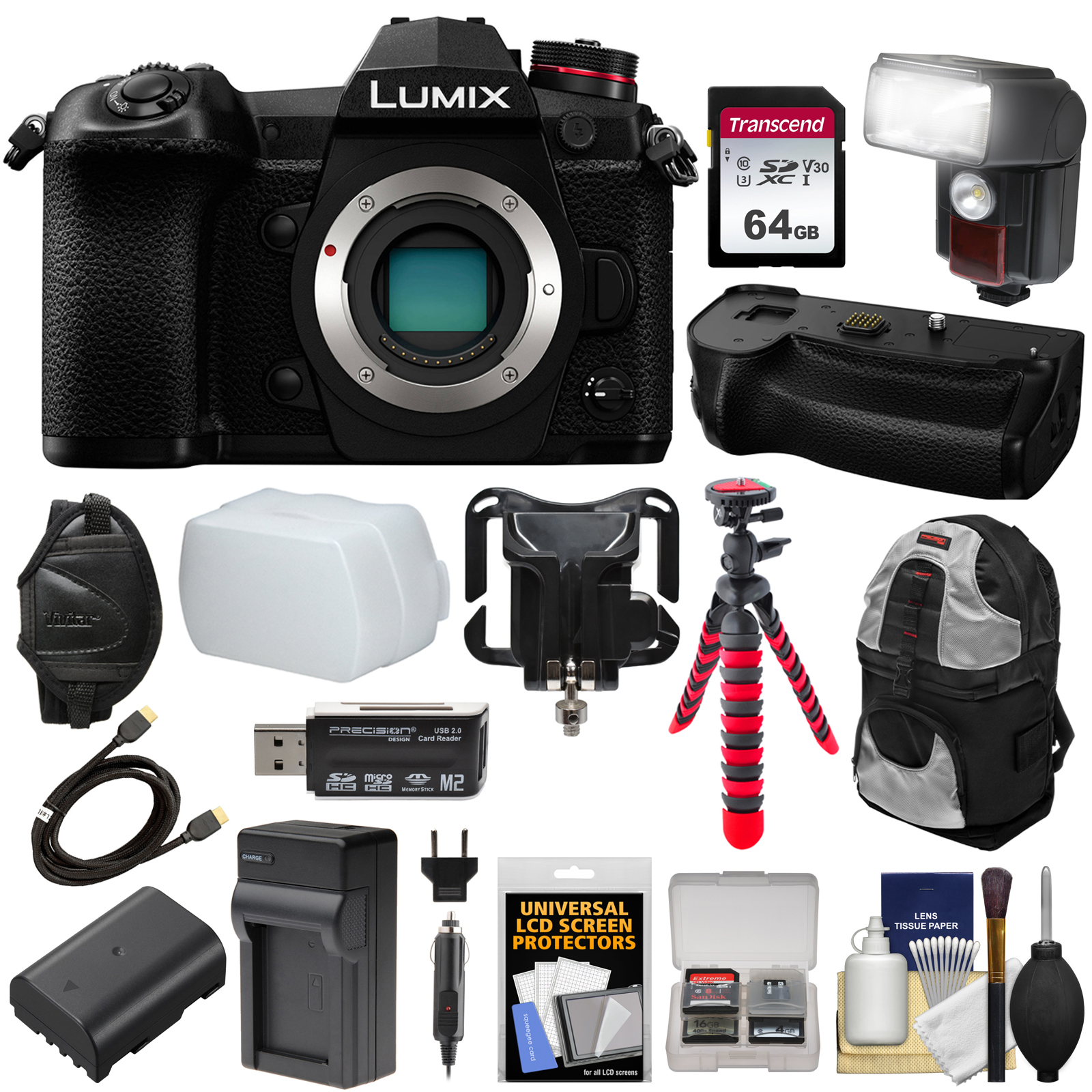 Panasonic Lumix DC-G9 4K Wi-Fi Digital Camera with DMW-BGG9 Battery Grip + 64GB Card + Battery & Charger +... by Panasonic