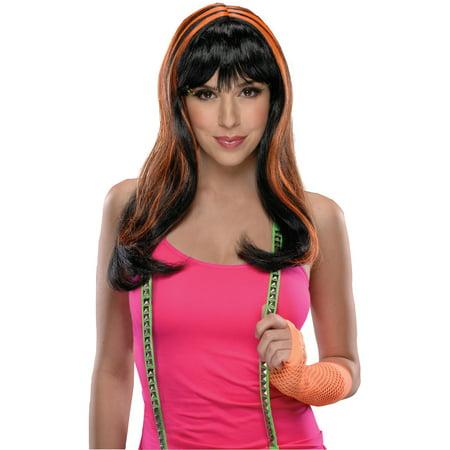 Adults Womens 80s Long Black Neon Orange Streaks Punk Rave Costume Wig](80s Punk Rockers)