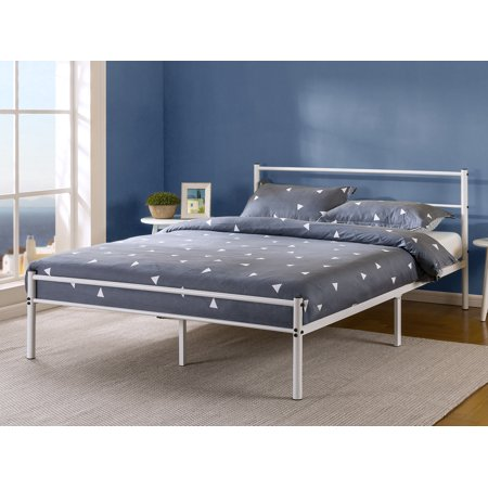 "Zinus Geraldine 12"" White Metal Platform Bed Frame with Headboard and Footboard, Queen"