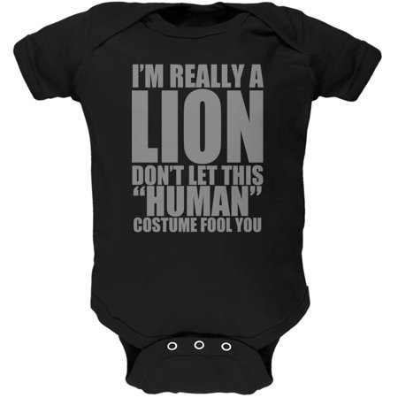 Halloween Human Lion Costume Black Soft Baby One Piece - Lion King Halloween Costumes For Babies