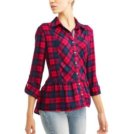 Women's Plaid Pepum Shirt