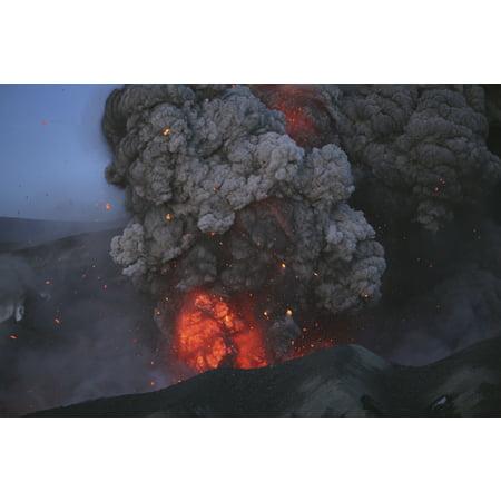 Eyjafjallajokull Eruption Summit Crater Iceland Canvas Art   Martin Rietzestocktrek Images  34 X 23