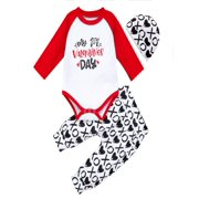 3PCs My First Valentine's Day Infant Baby Girl Boy Kid Romper Tops+Pants+Hat Set