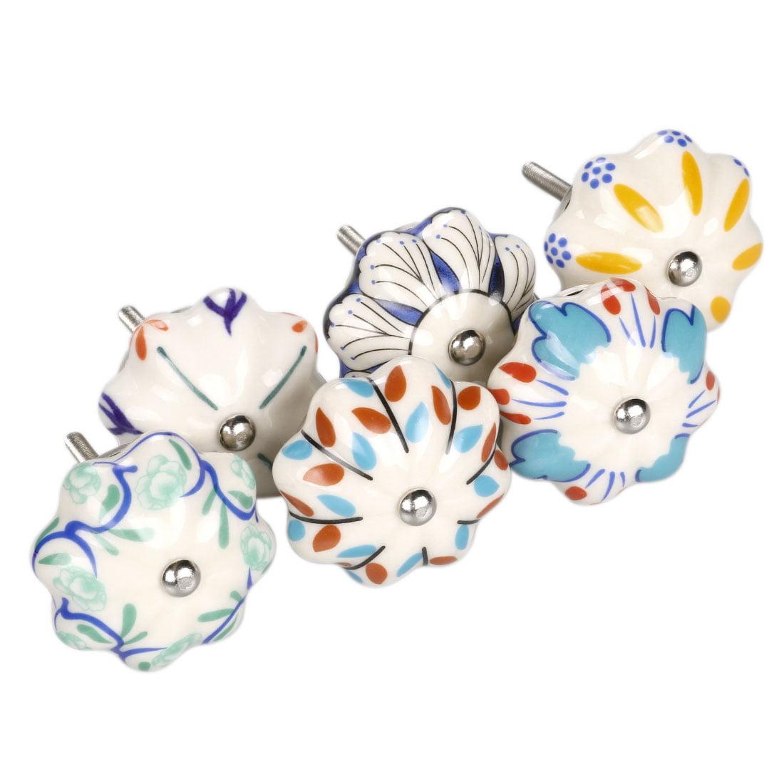 6 Pack Vintage Shabby Chic Hand Painted Ceramic Pumpkin Cabinet Knobs Drawer Dresser Cupboard Wardrobe Pulls Handles