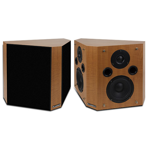 Fluance SXBP High Definition Bipolar Surround Sound Wide Dispersion Speakers for Home Theater - Tan Beech