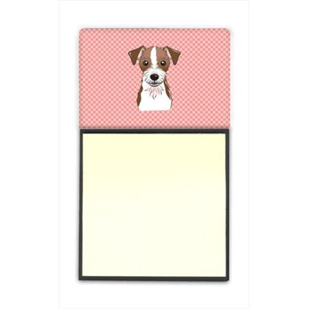 Checkerboard Pink Jack Russell Terrier Refiillable Sticky Note Holder Or Postit Note Dispenser, 3 x 3 In. - image 1 de 1