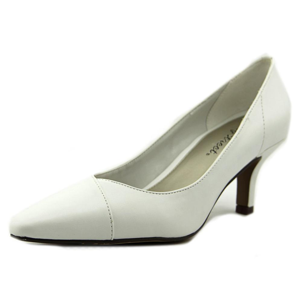 Easy Street Chiffon Women N S Pointed Toe Synthetic White Heels by Easy Street
