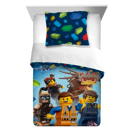 The LEGO Movie 2 Kids Bedding, 2Pc Comforter and Sham Set, Twin/Full, Let's Build Together