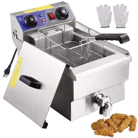 11.7L 1500W Commercial Electric Pro Deep Fryer Stainless Steel Timer ...