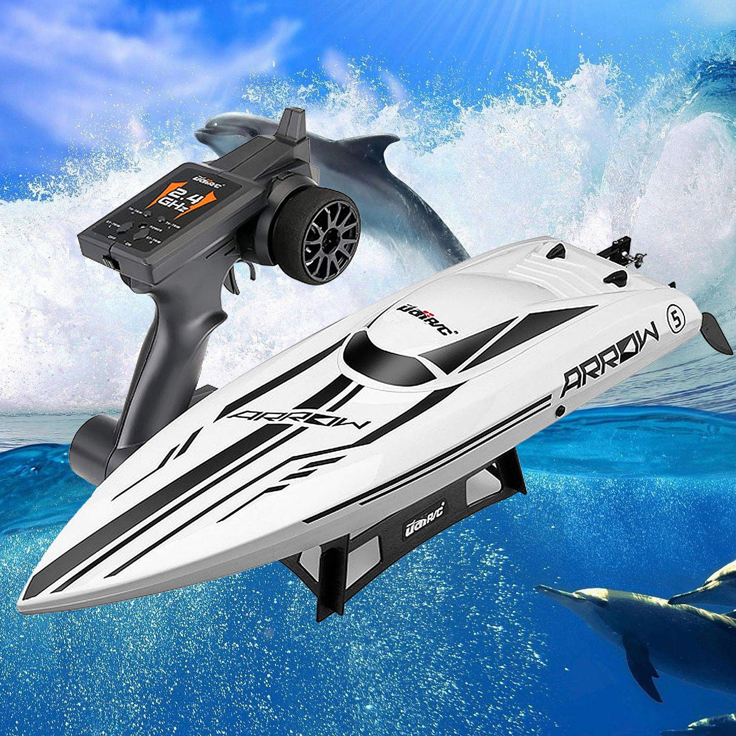 """UDI RC Arrow 25"""" Brushless RC Racing Boat 30mph High Speed Electronic Remote Control Boat for Adults Kids by"""