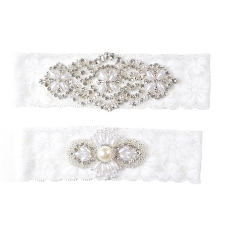 eeef0a5fb Rhinestone Pearl Vintage Ivory Lace Wedding Garter Set