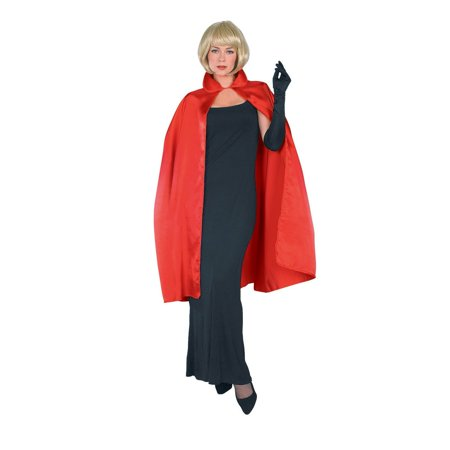 45 Red Satin Cape Adult Halloween Costume
