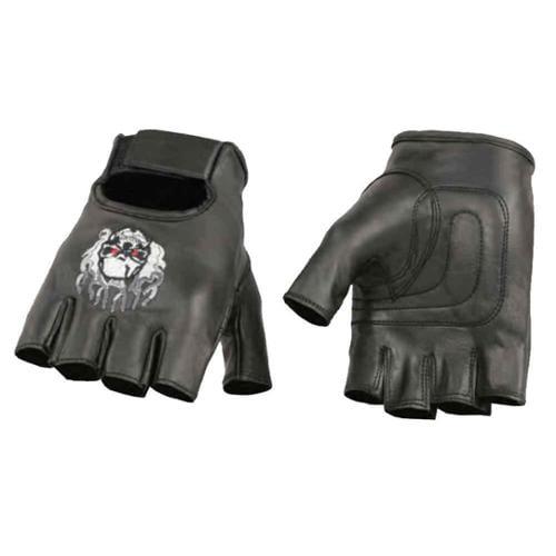 Milwaukee Leather Men's Premium Skull & Flame Fingerless Gloves SH351 (XL) - X-Large SH351-XL
