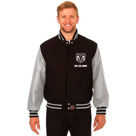 JH Design Dodge RAM Men's Wool & Leather Varsity Jacket with Embroidered Applique Logos