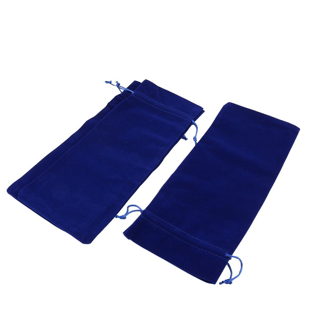 Wedding Gift Velvet Drawstring Wine Storage Organizer Bag Blue 35cm x 15cm 3 Pcs
