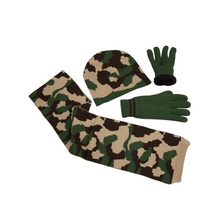 NICE CAPS Mens Outdoors Camouflage Print Knitted 3 Piece Hat/Scarf/Glove Winter Cold Weather Headwear Accessory Set - Mets Winter Hat