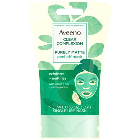 Alpha Hydroxy Mask (Aveeno Clear Complexion Pure Matte Peel Off Face Mask with Alpha Hydroxy Acids, Soy & Pomegranate for Clearer-Looking Sk )