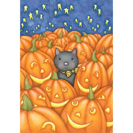 Image of Peekaboo Cat 28 x 40 Inch Decorative Cute Kitty Fall Autumn Halloween Pumpkin House Flag