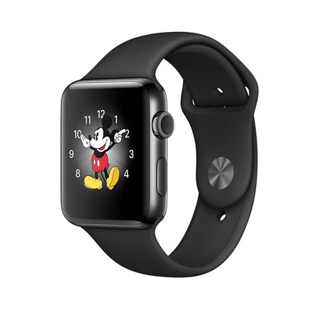 Apple Watch Original - 38 mm - space black stainless steel - smart watch with sport band - black - S/M/L size - Wi-Fi, Bluetooth - 1.41 oz ()